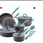 Rachael Ray Cucina Hard Anodized Nonstick Cookware Pots and Pans Set, 12 Piece, Gray with Blue Handles
