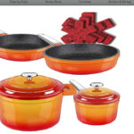 Dealz Frenzy Enamel Cast Iron Pots and Pans Set, Non-Stick Induction Cookware Set,Stainless Handles, Dishwasher Safe, Oven Safe, Germany Professional...