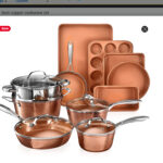 Gotham Steel Hammered Copper Collection – 15 Piece Premium Cookware & Bakeware Set with Nonstick Coating, Aluminum Composition–